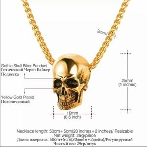 Accessories - New 18K gold skull necklace